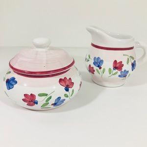 Sugar bowl w/lid & creamer by CALECA hand painted